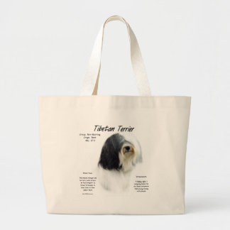 Tibetan Terrier History Design Large Tote Bag