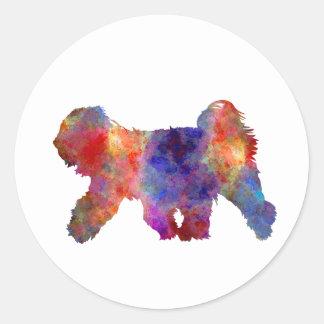 Tibetan Terrier in watercolor Classic Round Sticker