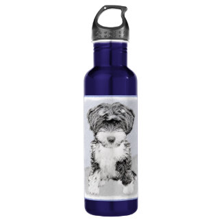 Tibetan Terrier Painting - Cute Original Dog Art 710 Ml Water Bottle