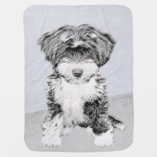 Tibetan Terrier Painting - Cute Original Dog Art Baby Blanket