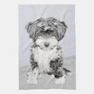 Tibetan Terrier Painting - Cute Original Dog Art Kitchen Towel