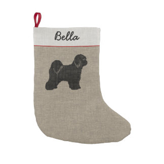 Tibetan Terrier Silhouette with Custom Text Small Christmas Stocking