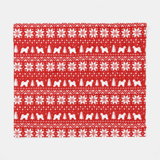 Tibetan Terrier Silhouettes Christmas Pattern Fleece Blanket