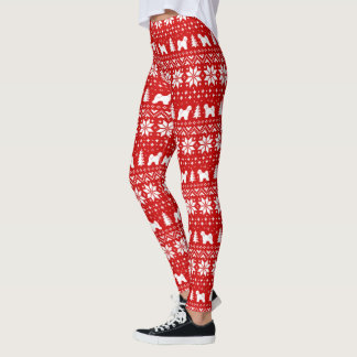 Tibetan Terrier Silhouettes Christmas Pattern Leggings