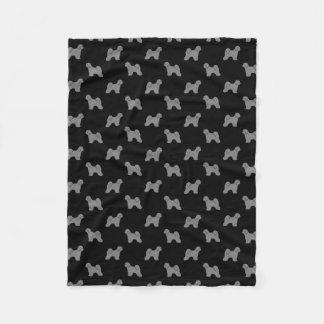 Tibetan Terrier Silhouettes Pattern Fleece Blanket