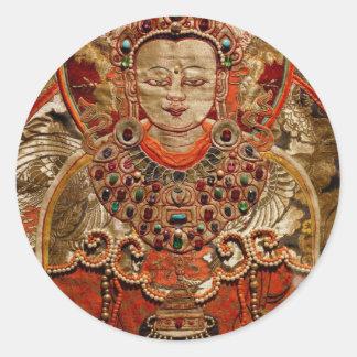 TIBETAN THANGKA ART WORK ON SILK ROUND STICKER
