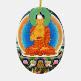 Tibetan Thangka Prabhutaratna Buddha Ceramic Oval Ornament