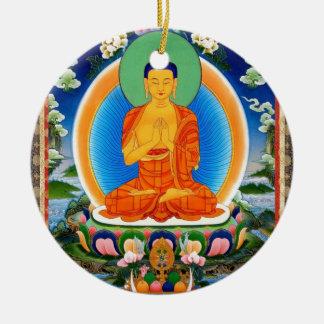 Tibetan Thangka Prabhutaratna Buddha Round Ceramic Ornament