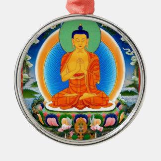 Tibetan Thangka Prabhutaratna Buddha Silver-Colored Round Ornament