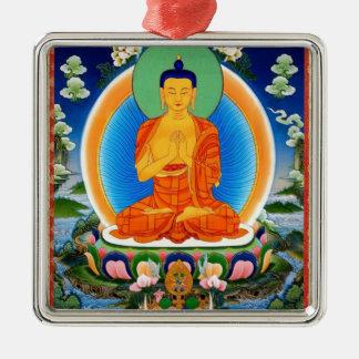 Tibetan Thangka Prabhutaratna Buddha Silver-Colored Square Ornament