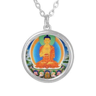 Tibetan Thangka Prabhutaratna Buddha Silver Plated Necklace