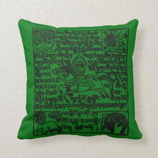 Tibetan Windhorse Prayer Flag in green Throw Pillow