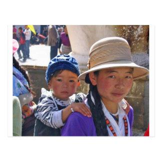 Tibetan woman with child postcard
