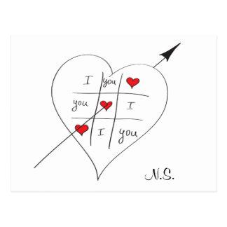 Tic Tac Love Toe Quote love Postcard