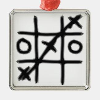 Tic Tac Toe - 3 in a Row Metal Ornament