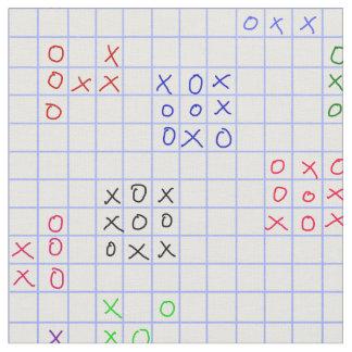 Tic-Tac-Toe doodles graph paper fabric