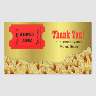 Ticket & Popcorn Movie Night Party Favor Stickers