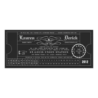Ticket Punch Card Tea Length Invitation in Black