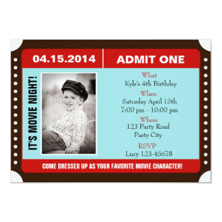 Ticket Style Invitation with Photo - Blue Red