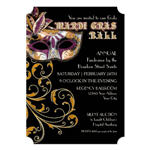 ticket style mardi gras ball gala party fundraiser 5 x 7 invitation card zazzle. Black Bedroom Furniture Sets. Home Design Ideas