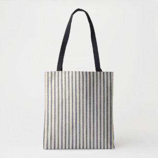 Ticking Blue & White Retro Striped Vintage French Tote Bag