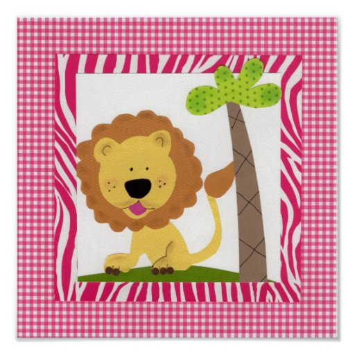 Tickle Me Pink Lion Print