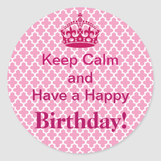 Tickled Pink Keep Calm Birthday Stickers