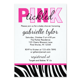 Tickled Pink Zebra Baby Shower Invitations