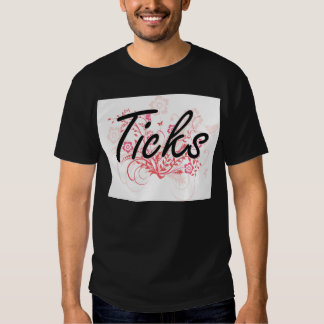 Ticks with flowers background t-shirts