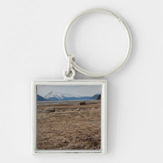 Tidal Flats Silver-Colored Square Keychain
