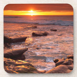Tide pools at sunset, California Beverage Coasters