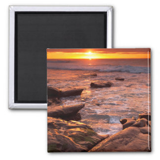 Tide pools at sunset, California Square Magnet