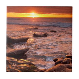 Tide pools at sunset, California Tile