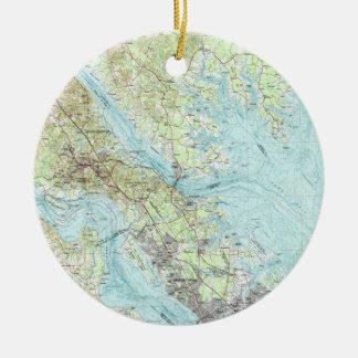 Tidewater Virginia Map (1984) Ceramic Ornament