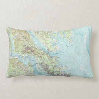 Tidewater Virginia Map (1984) Lumbar Pillow