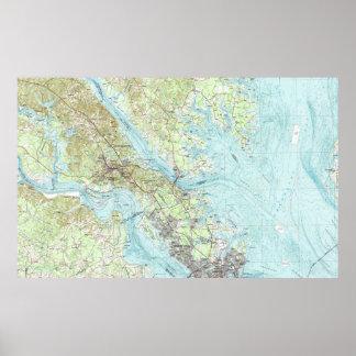 Tidewater Virginia Map (1984) Poster