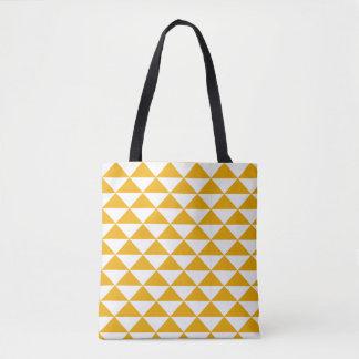 tidy triangle mustard tote bag