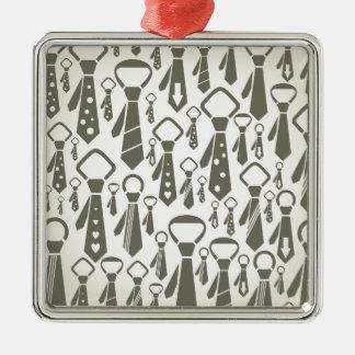 Tie a background Silver-Colored square ornament