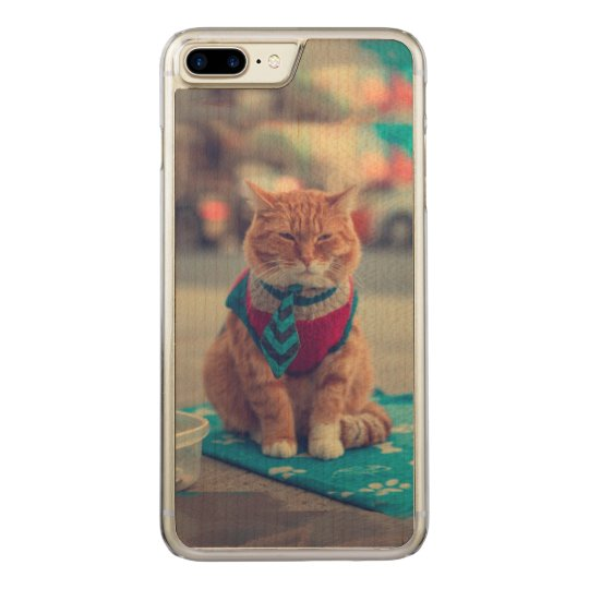 Tie Beige Cat Sitting Begging Carved iPhone 7 Plus Case