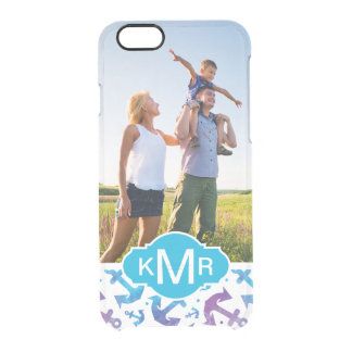 Tie Dye Anchor Pattern | Your Photo & Monogram Clear iPhone 6/6S Case