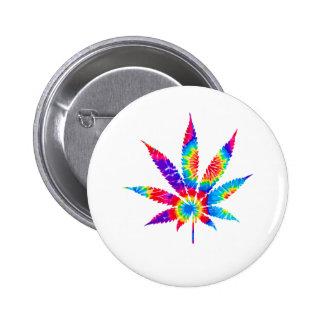 Tie Dye Cannabis Leaf 2 Inch Round Button
