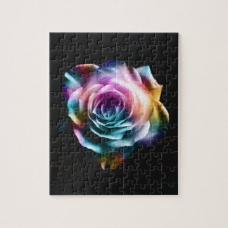 Tie Dye Colorful Rose Jigsaw Puzzle