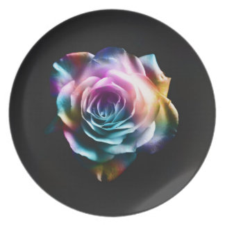 Tie Dye Colorful Rose Plate