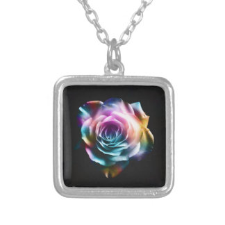 Tie Dye Colorful Rose Silver Plated Necklace