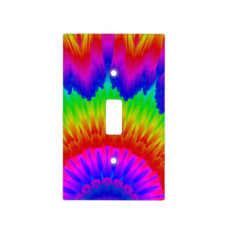 Tie dye design  retro 70's art rainbow peace 1 light switch cover