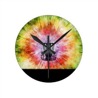 Tie Dye Disc Golf Basket Round Clock