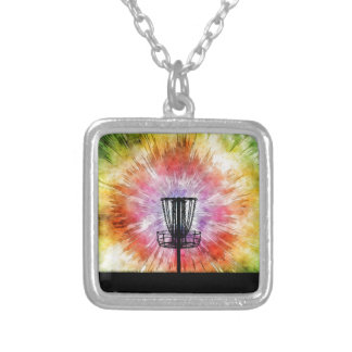 Tie Dye Disc Golf Basket Silver Plated Necklace