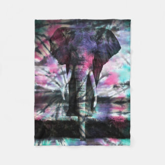 Tie Dye Elephant Fleece Blanket