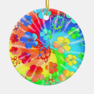 Tie Dye Honu And Hibiscus Ceramic Ornament