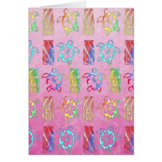 Tie Dye Honu And Tiki Mask Card